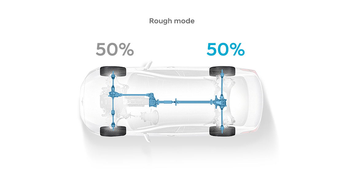 A sky view of a transparent illustration of a car indicating 50%