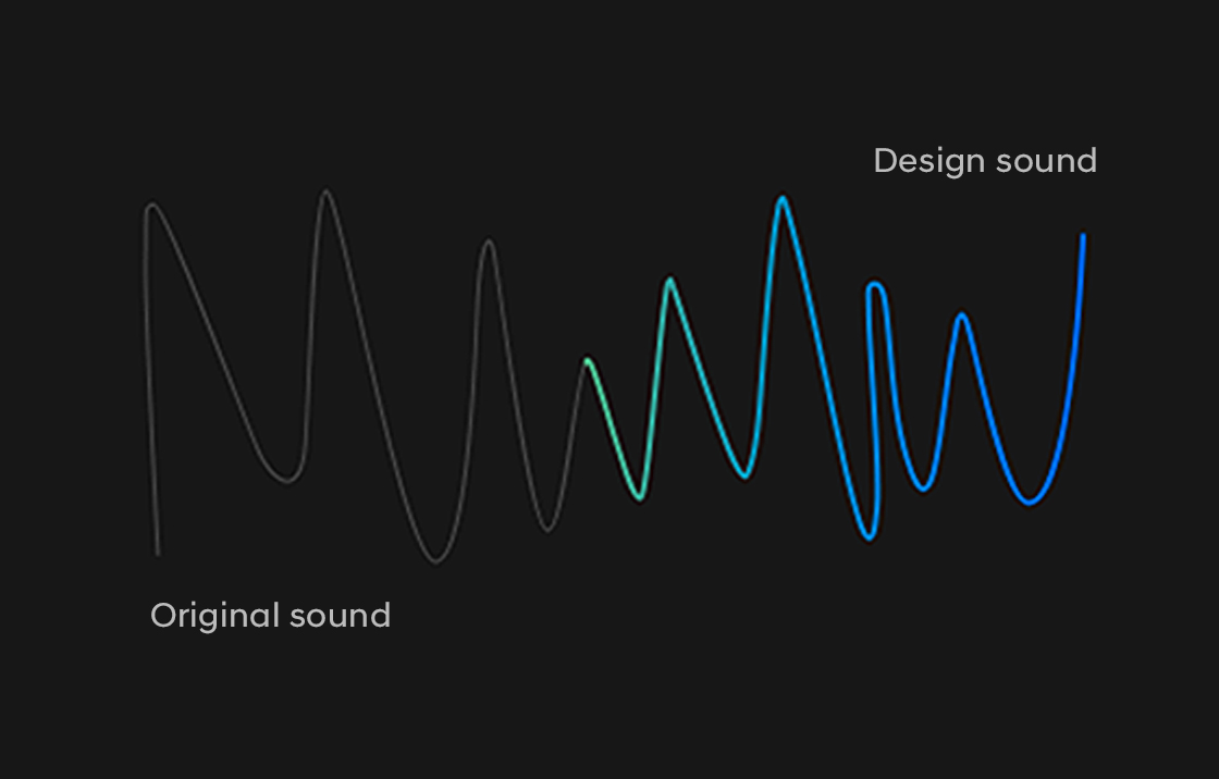 Visualization of wave of sound in blue