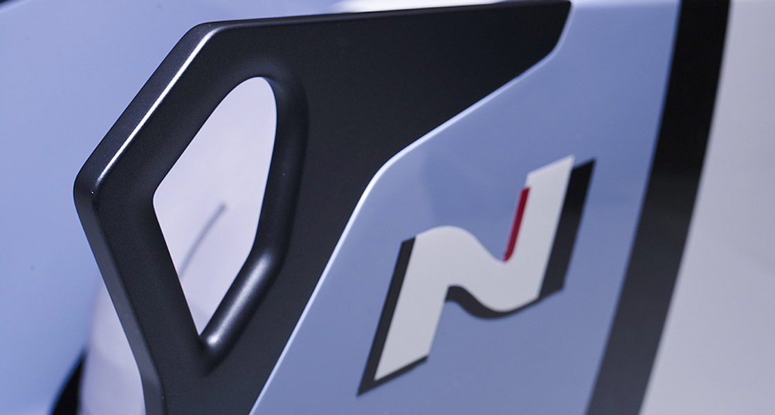 Closer view of bobsled body with hyundai brand n logo