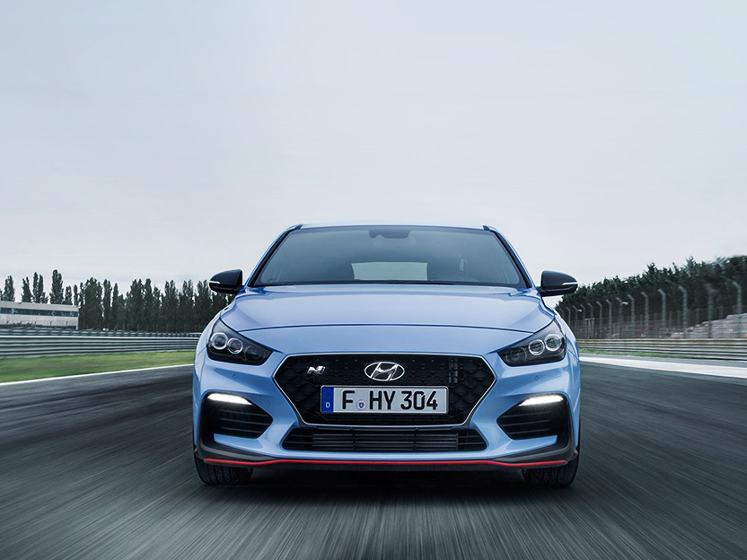 front view of i30n on a race track