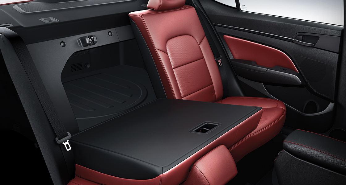 Rear seat with right backseat folded