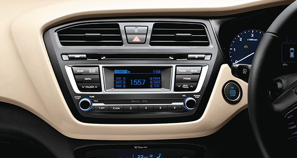 Center-fascia of black and beige interior