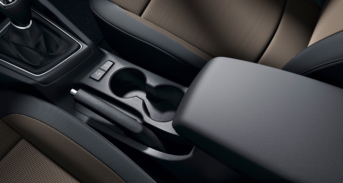 Cup holder with the center console from driver's viewpoint