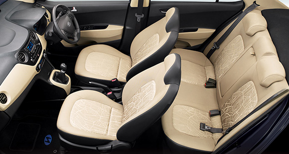 Entire view of black and beige interior from left top viewpoint