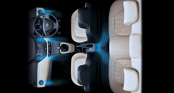 Full auto air conditioning system illustrated within the interior