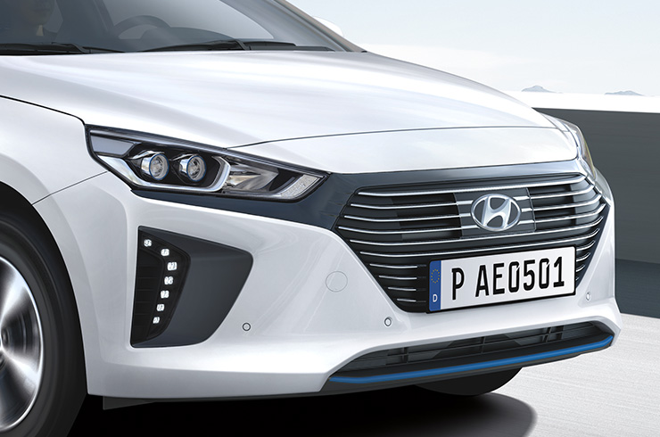 Closer view of front polar white Ioniq plug-in hybrid.