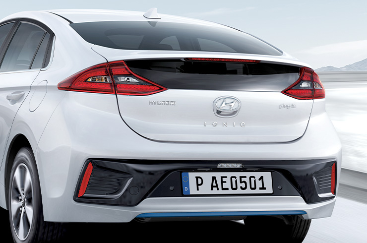 Rear part of white Ioniq plug-in Hybrid
