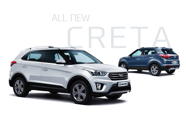 Side view of white Creta in front and navy Creta parked behind with the text All-New-Creta on the background