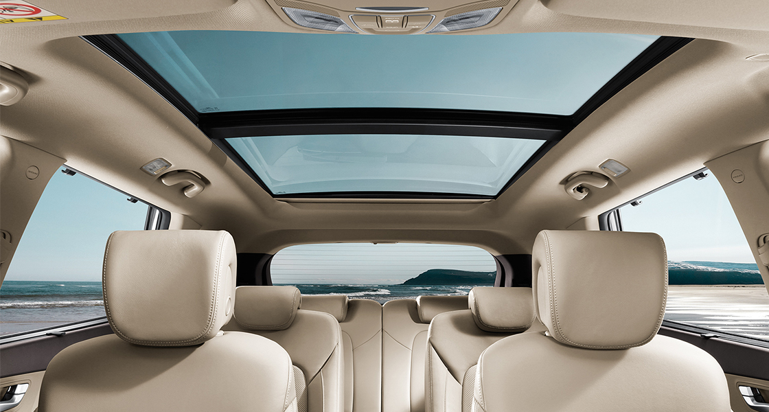 Panoramic view of beige interior with sunroof opened on a clear day