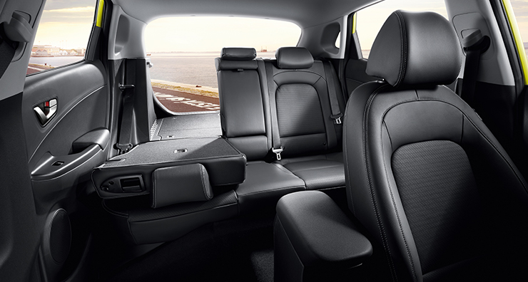 rear view of interior with split folding rear seats